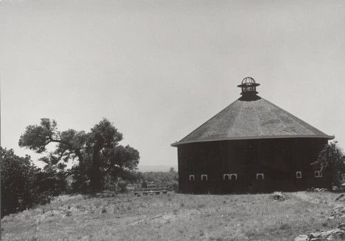 Exterior view of the Round Barn of Fountain Grove, 3501 Round Barn Boulevard, Santa Rosa, California, about 1970