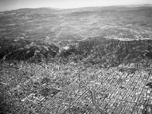 Aerial view of Los Angeles and surrounding vicinities, looking northwest