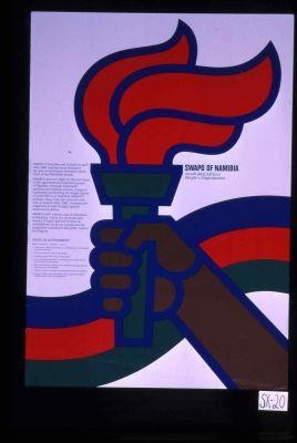 SWAPO of Namibia was formed on April 19th, 1960, and since then been the sole revolutionary liberation movement of the Namibian people. SWAPO's aim is to fight for the just cause of the oppressed and exploited people of Namibia. Through diplomatic, political and military actions, SWAPO is constantlyl confronting the illegal regime of South Africa in Namibia