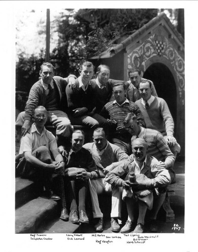 Group of men at Bohemian Grove, Monte Rio, California, August 1927