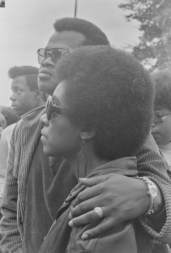 Couple listening, Free Huey Rally, De Fremery Park, Oakland, CA, #41 from A Photographic Essay on The Black Panthers