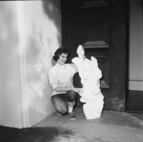 Woman with sculpture, Scripps College
