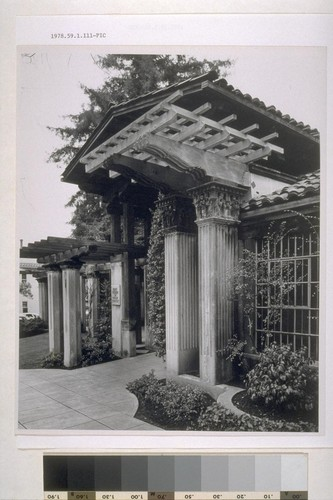 First Church of Christ, Scientist, Berkeley: [exterior, view of trellises and pergola]