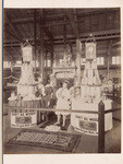 View of the exhibit of Faultless Pepsin Chips Chewing Gum at Mechanic's Institute Fair, 1895, Naph. B. Greensfelder & Co., Pacific Coast agents