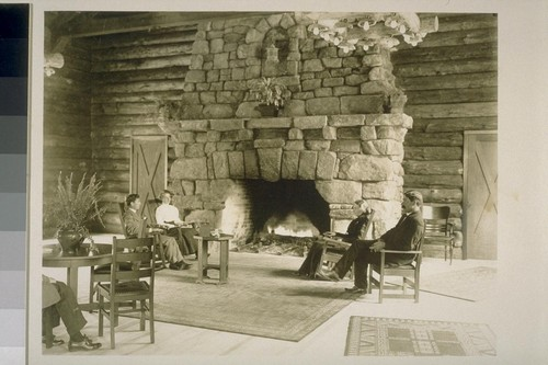 [People in lobby, unidentified lodge. Monterey County.]