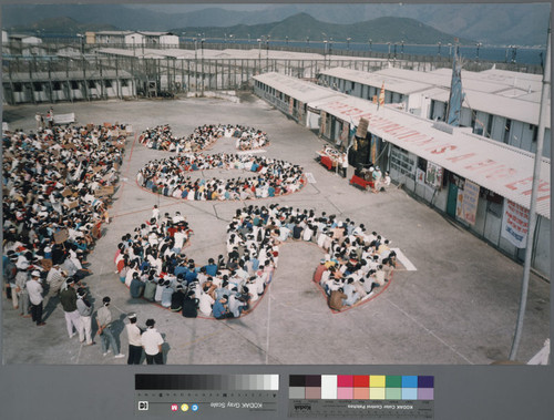 Protest by Vietnamese boat people at Hong Kong detention camp