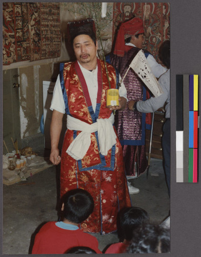 Man In Traditional Dress At A Mien Religious Rules Ceremony Northern California Calisphere