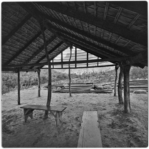 The corredor, a roofed and open-air porch, under construction at Rancho San Nicolás