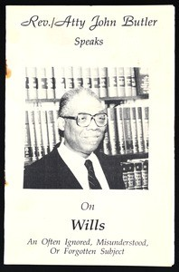 Rev./Atty. John Butler speaks on wills, 1992