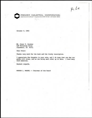 Correspondence to Peter F. Drucker from Chairman Morton L. Mandel