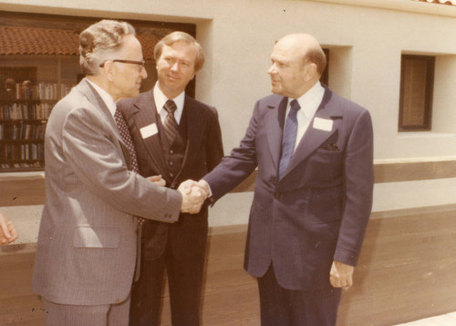 L to R: Justice Harry A. Blackmun, Dean Ronald Phillips, Dr. M. Norvel Young (Color)