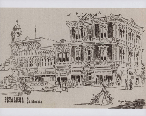 Drawing of downtown Petaluma by artist Audrey Hulburd, likely in the in the 1990s
