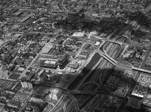 Aerial view of Downtown Los Angeles, looking northwest