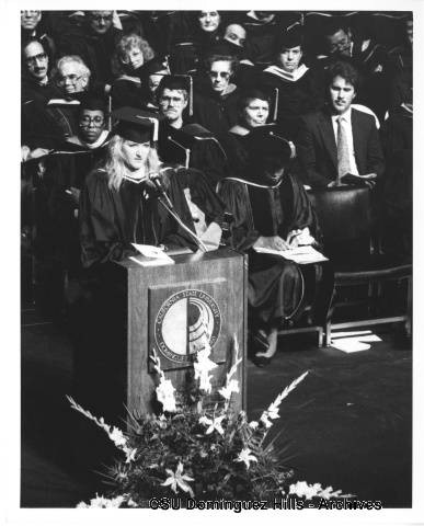 Laura Robles speaking at Commencement