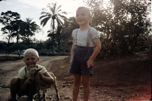 Arne and Olav Heggheim with a goat, Cameroon, 1955-1968