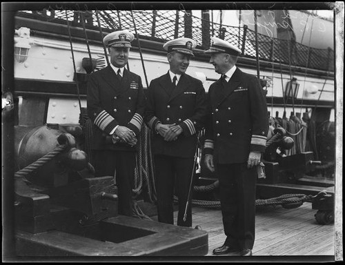 Calisphere: United States Navy officers on ship deck, [1934?]