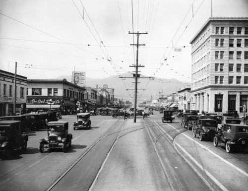 Brand and Broadway with automobiles