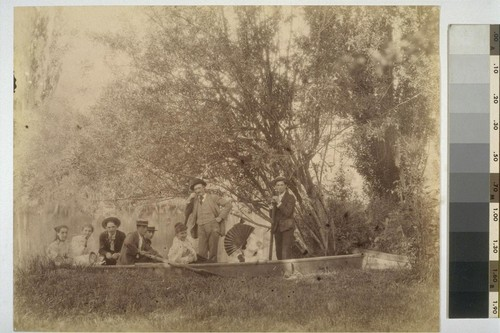 [Unidentified party in rowboat. Shebley Park?]
