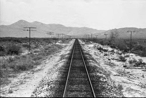 Landscape view of train tracks, Chihuahua, 1983