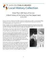More Than 100 Years of Service: A Brief History of the Santa Cruz Fire Department