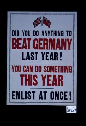 Did you do anything to beat Germany last year! You can do something this year. Enlist at once