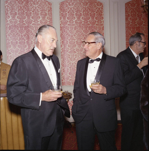 Guests mingling at Pepperdine's Birth of a College dinner, 1970