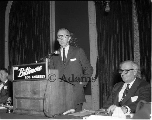 Speaker at banquet, Los Angeles, 1963