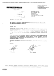 [Letter from Cristina Soler and David Saludes to Norman Jack regarding Seizure of cigarattes Dorchester at customs in valencia]