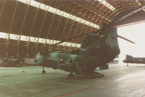 CH-46 Sea Knight helicopter framed in one of the hangars at MCAS Tustin