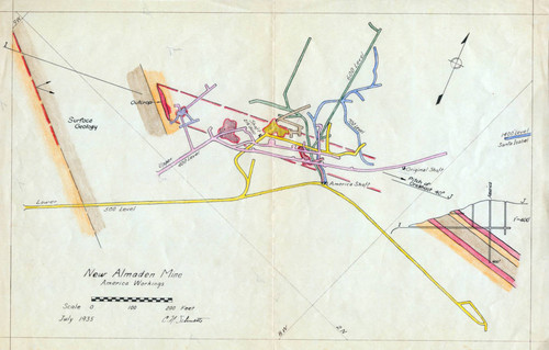 Calisphere: Map of the America Shaft at the New Almaden ...
