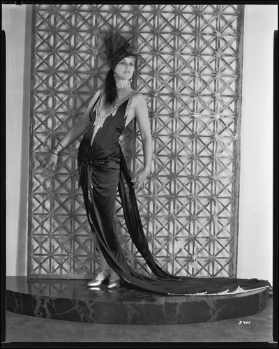 Peggy Hamilton modeling a Max Rée gown worn by actress Maria Corda in the movie Love and the Devil, 1929