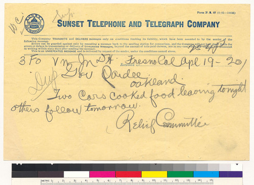 Aid for San Francisco: telegram from Relief Committee