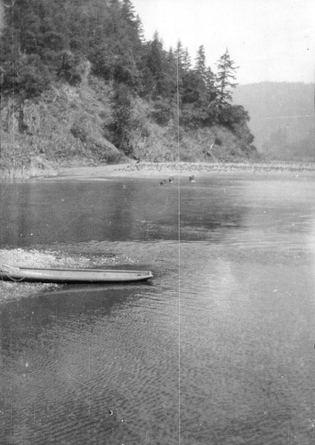 "Klamath River scene: ""Old-fashioned"" canoe along the river bank"