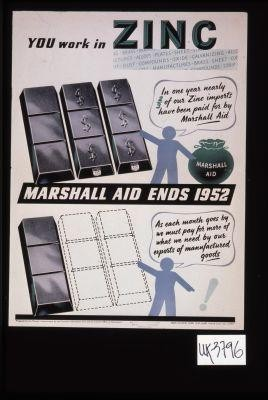 You work in zinc. In one year nearly 2/3 of our zinc imports have been paid for by Marshall aid. Marshall aid ends 1952. As each month goes by we must pay for more of what we need by our exports of manufactured goods!