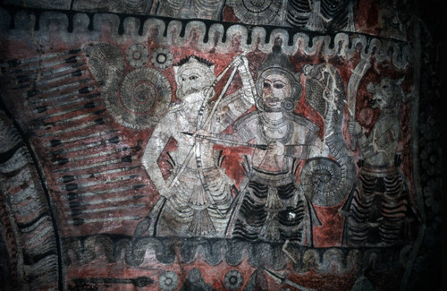 Shrine in cave: mural