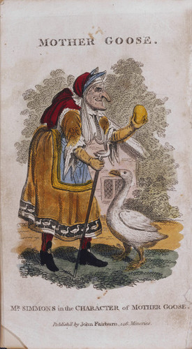 Mr. Simmons in the Character of Mother Goose, frontispiece to Fairburn's Description of the Popular and Comic New Pantomime, called Harlequin and Mother Goose, or the Golden Egg