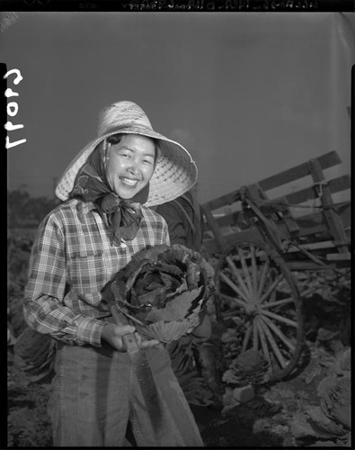 Cabbage farmer Chiyeko Suzumoto in Gardena (Calif.)