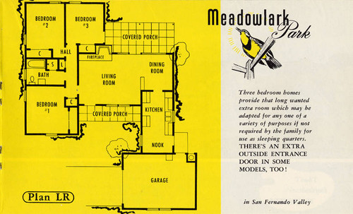 Brochure for the Ray Hommes & Co. Meadowlark Park housing development in Reseda