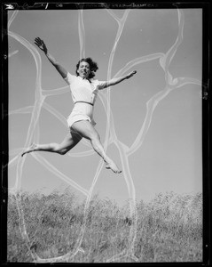 Athletic poses for publicity, Southern California, 1940