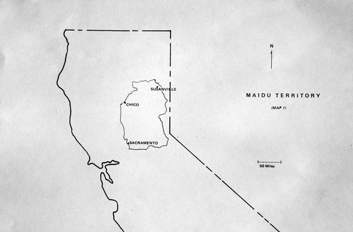 Map of Maidu territory with Chico, Susanville, and Sacramento displayed on map