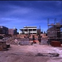 Old Sacramento. View of the Fratt Building under construction at 2nd and K Streets