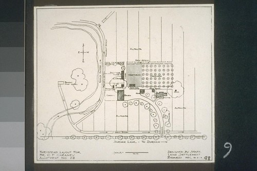 Farmstead layout for Mr. C. F. Cheaney, Allotment No. 28, Designed by State Land Settlement Board, 10-2-18