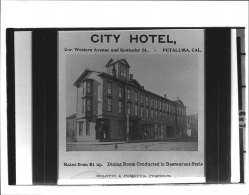 City Hotel, Petaluma, California, about 1893