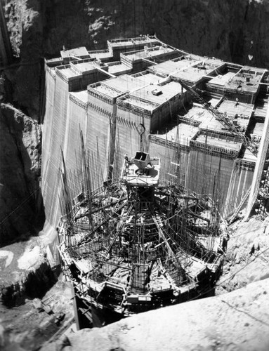 Calisphere: Nevada intake tower at Hoover Dam