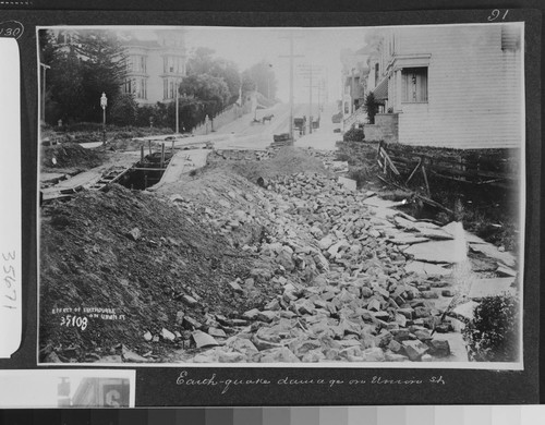 Earthquake damage on Union St. [caption on print: Effect of earthquake on Union St.]