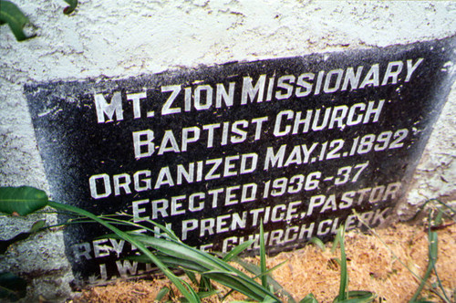 Mt. Zion Missionary Baptist Church, cornerstone