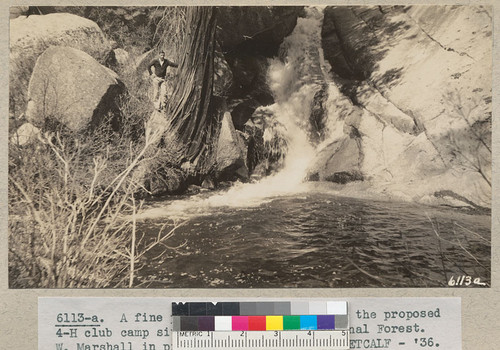 A fine pool in Dark Canyon below the proposed 4-H club camp site. San Bernardino National Forest. W. Marshall in picture. Metcalf - '36