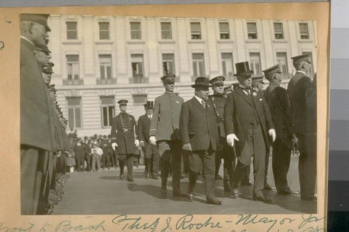 Front to back: Theo. J. Roche - Mayor Jas. Rolph, Jr. - Sergt. Mahoney - Chief D.J. O'Brien - Capt. H. Gleeson, and Commissioner A. Mahoney. Oct. 1922