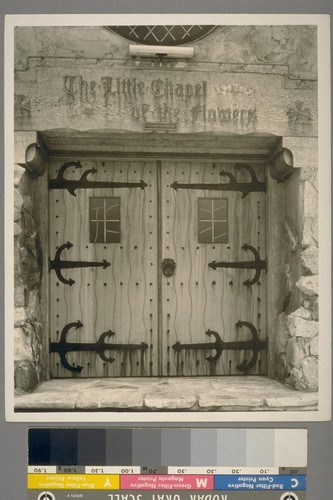 [The Little Chapel of the Flowers. Wooden doorway, with iron hinges and door handle. Unidentified location.]