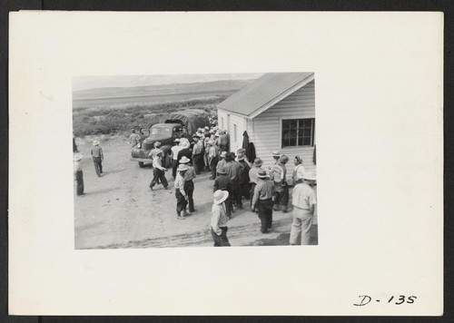 A view in the lunch shed at the farm. Trucks from the kitchens bring hot lunches to the workers. Photographer: Stewart, Francis Newell, California